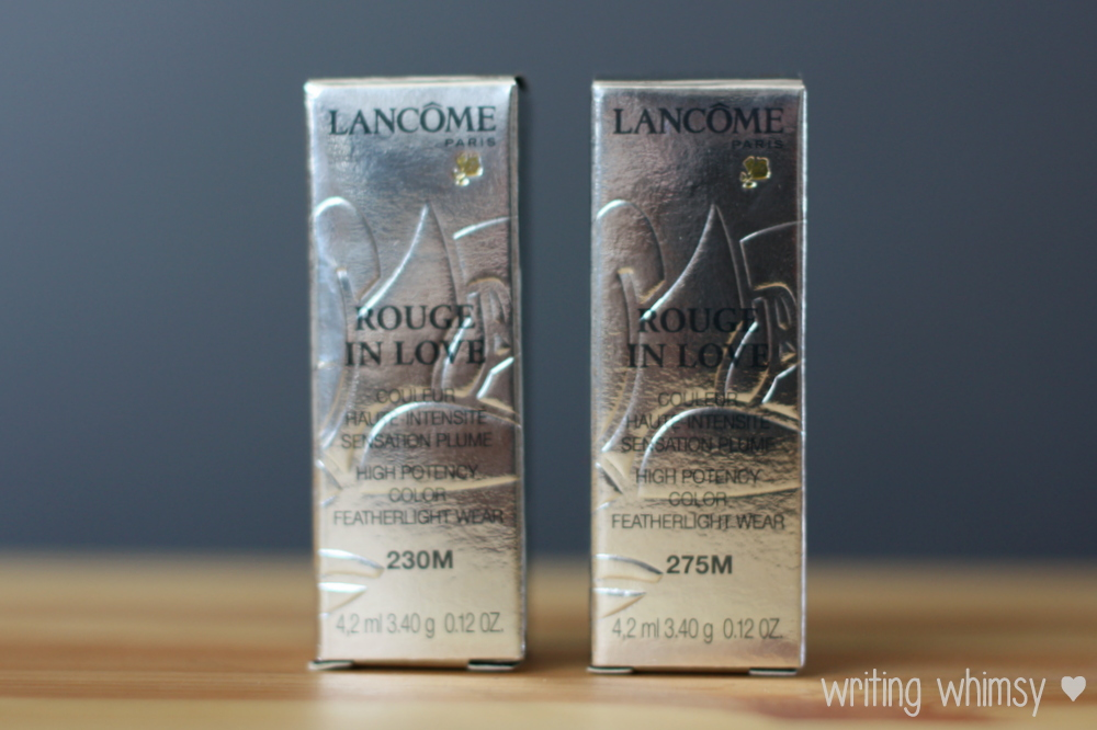Lancome Rouge in Love Lipcolour in Rose Rendezvous 230M and Jolie Rosalie 275M