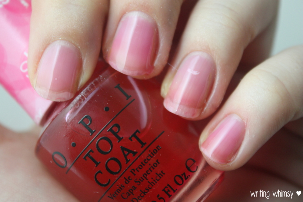 OPI Sheer Tints Top Coat I'm Never Amberrassed & Be Magentale with Me  3