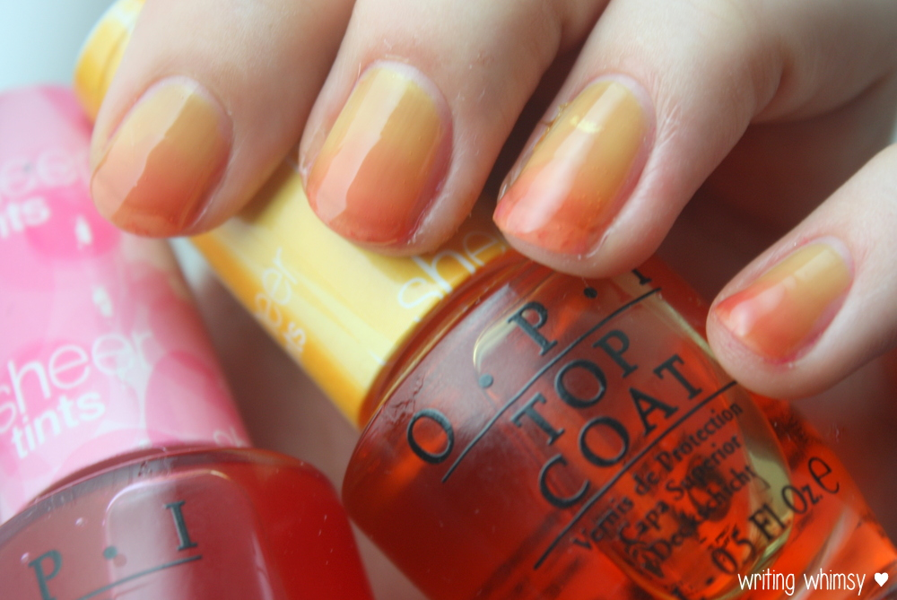 OPI Sheer Tints Top Coat I'm Never Amberrassed & Be Magentale with Me  5