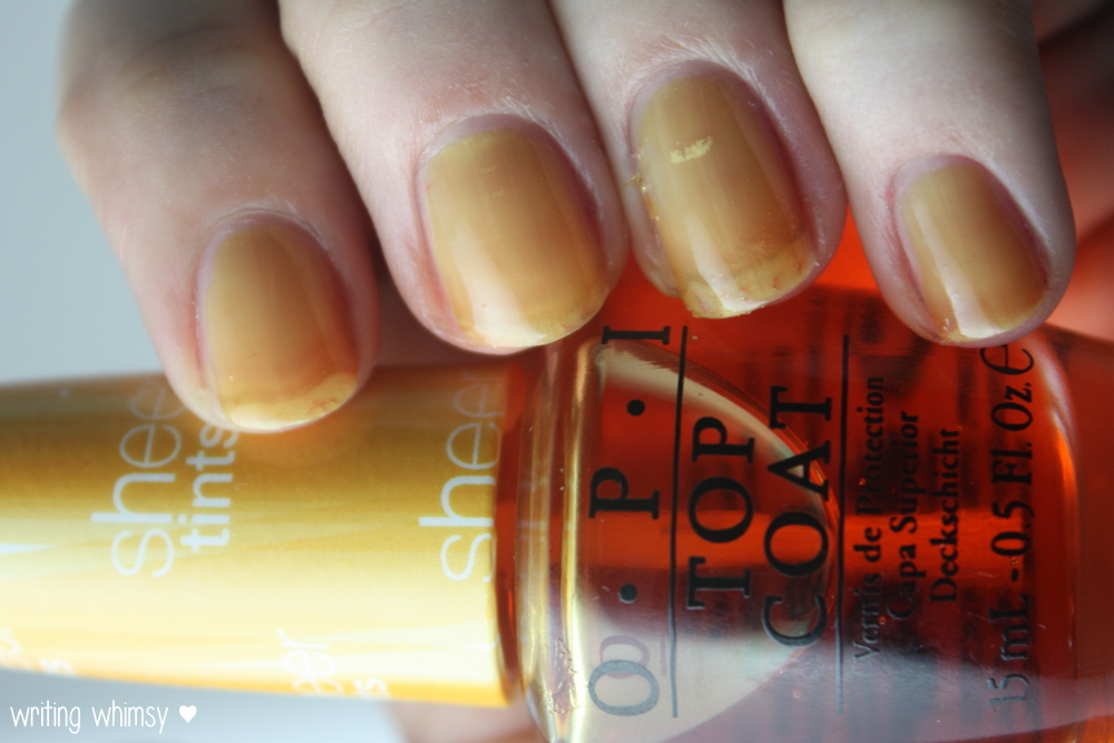 OPI Sheer Tints Top Coat I'm Never Amberrassed & Be Magentale with Me  6