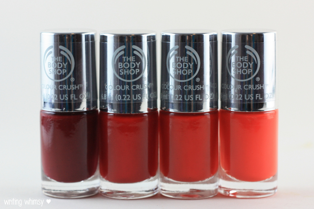 The Body Shop Color Crush Nail Polish Crimson Kiss, Relish The Moment, Red My Mind, Just Peachy