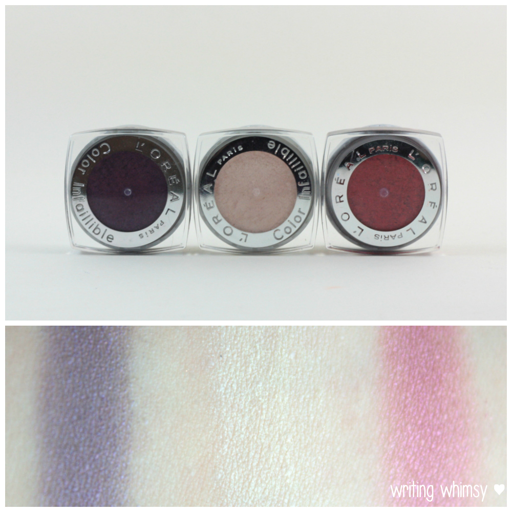 L'Oreal Infallible in Purple Obsession, Coconut Shake & Glistening Garnet 2