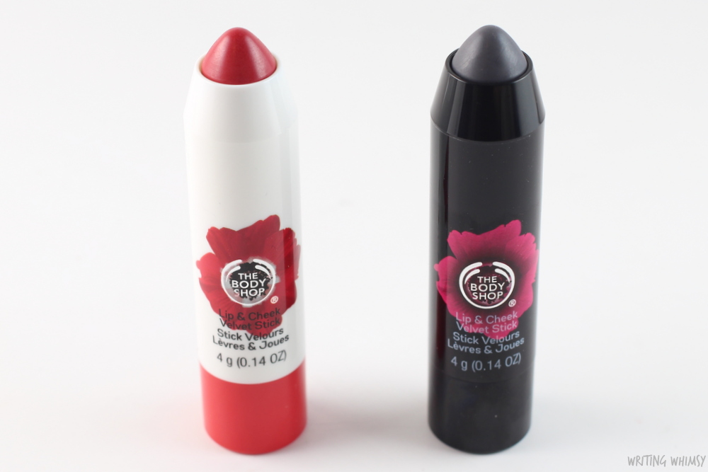 The Body Shop Lip & Cheek Velvet Stick in Red and Universal Shade 2