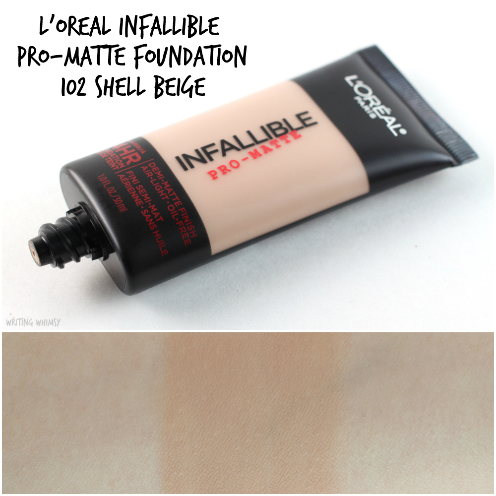 1-L'Oreal Infallible Pro-Matte Foundation in 102 Shell Beige Collage