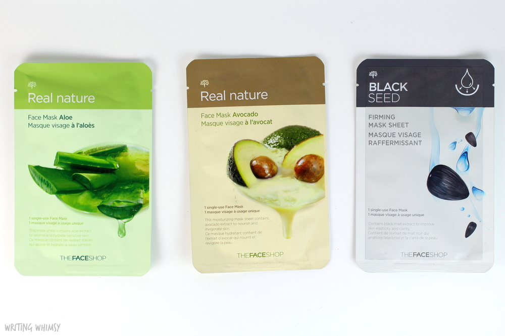 THEFACESHOP Face Masks in Aloe, Avocado and Black Seed 2