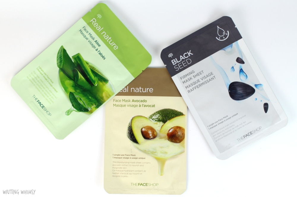 THEFACESHOP Face Masks in Aloe, Avocado and Black Seed