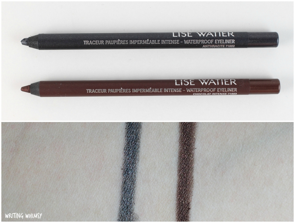 Lise Watier Intense Waterproof Eyeliner Chocolate Intense and Anthracite Swatches