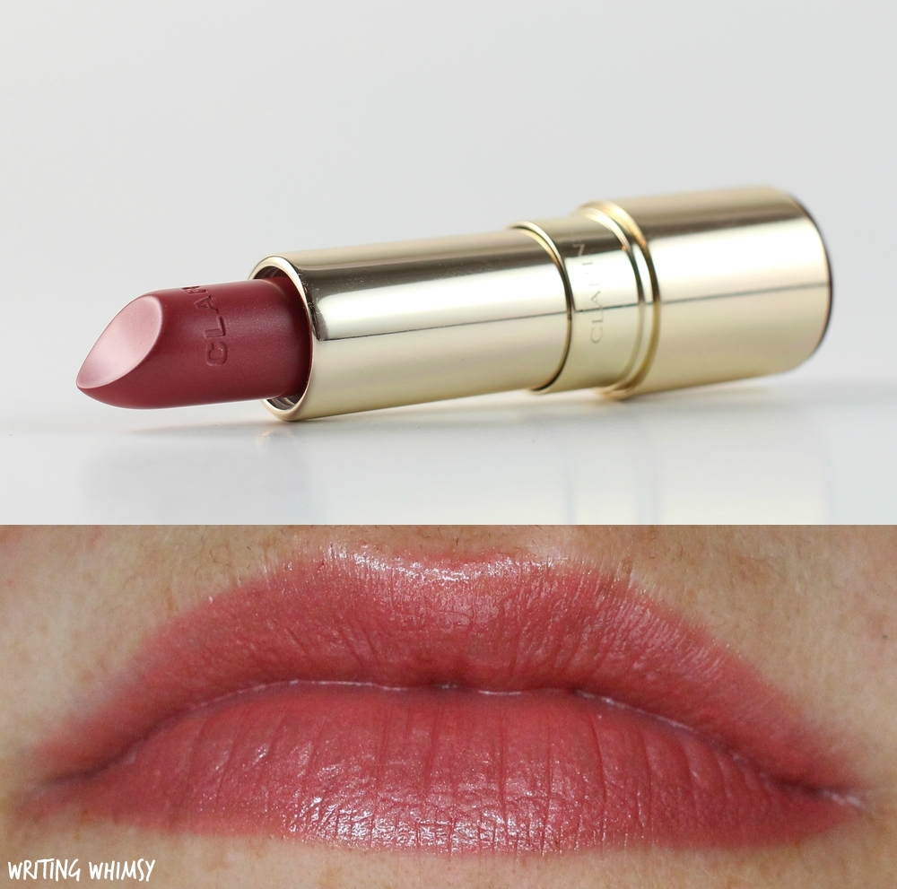 1-Clarins Joli Rouge Lipstick in Rosewood Swatch 3