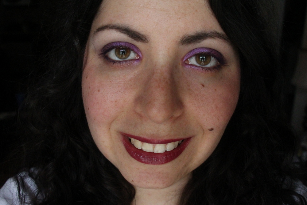 Clarins Joli Rouge Lipstick in Soft Plum Swatch 3