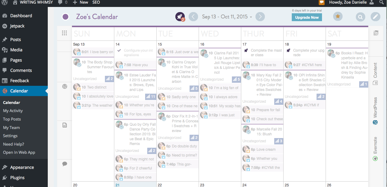 A view of my Coschedule calendar within WordPress