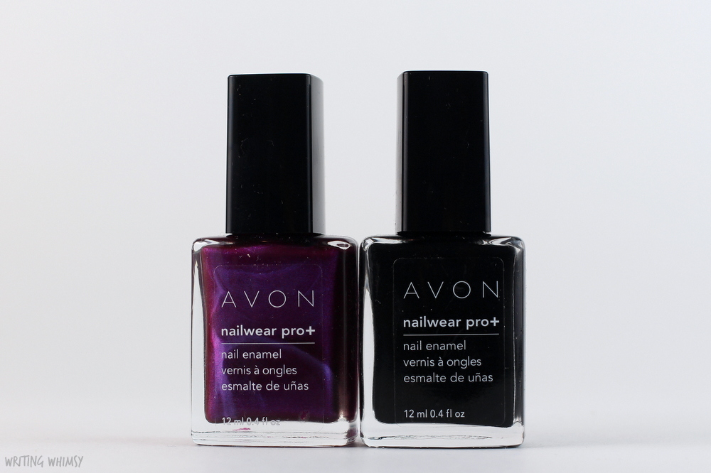 Avon Nailwear Pro+ Nail Enamel in Licorice and Decadence Swatches + Review
