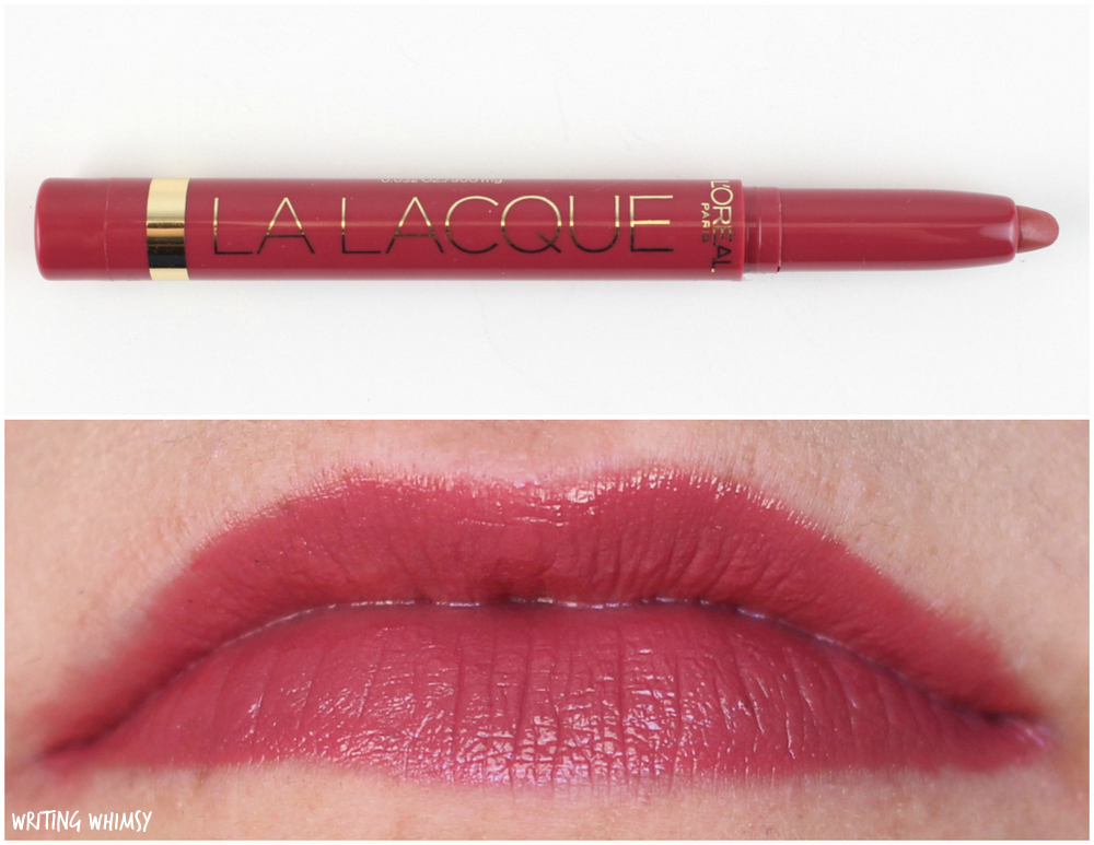 L'Oreal La Lacque Full Coverage Lipcolour Swatches 201 Lacque-y Charm Swatches