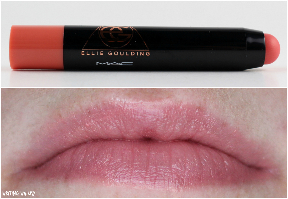 MAC Ellie Goulding Patentpolish Lip Pencil in Revved Up Swatches and Review 2