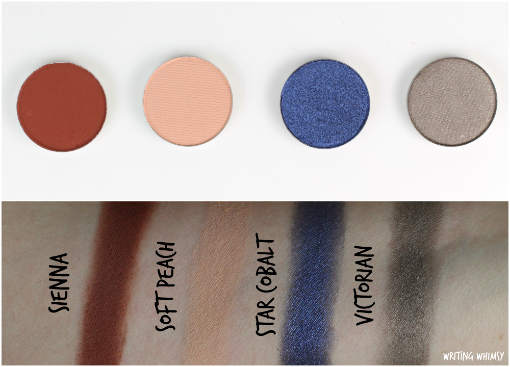 Anastasia Beverly Hills Eye Shadow Singles in Sienna, Soft Peach, Star Cobalt & Victorian 2