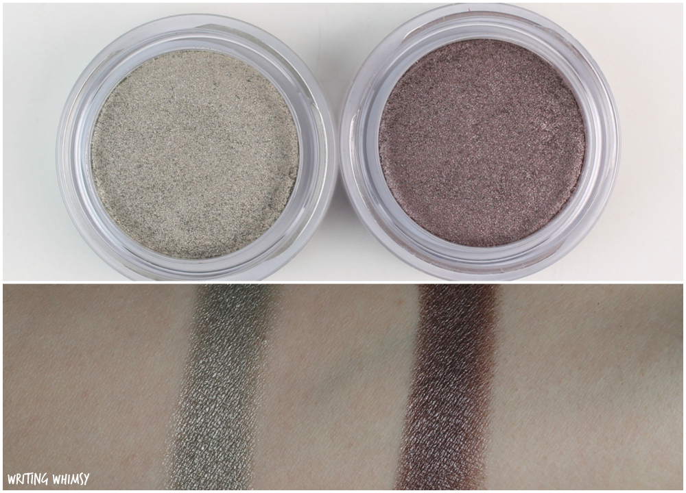 Clarins Ombre Iridescente Silver Green and Silver Plum Swatches 2