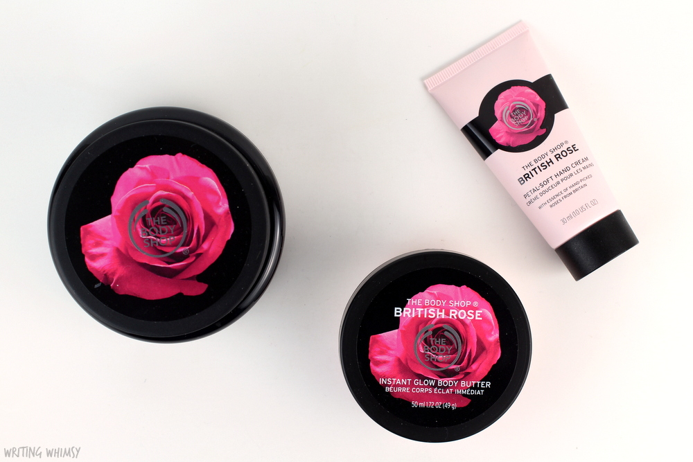 The Body Shop British Rose Exfoliating Gel Body Scrub, Instant Glow Body Butter & Petal-Soft Hand Cream