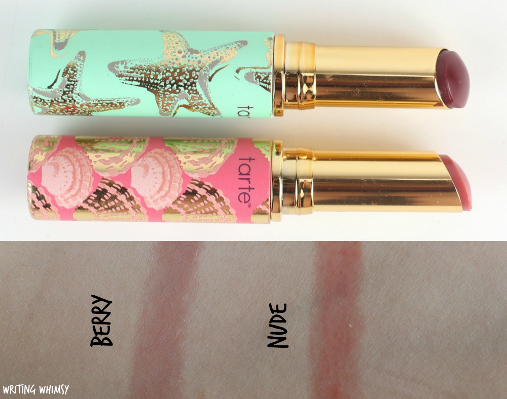 tarte Rainforest of the Sea Quench Lip Rescue in Berry and Nude Swatch