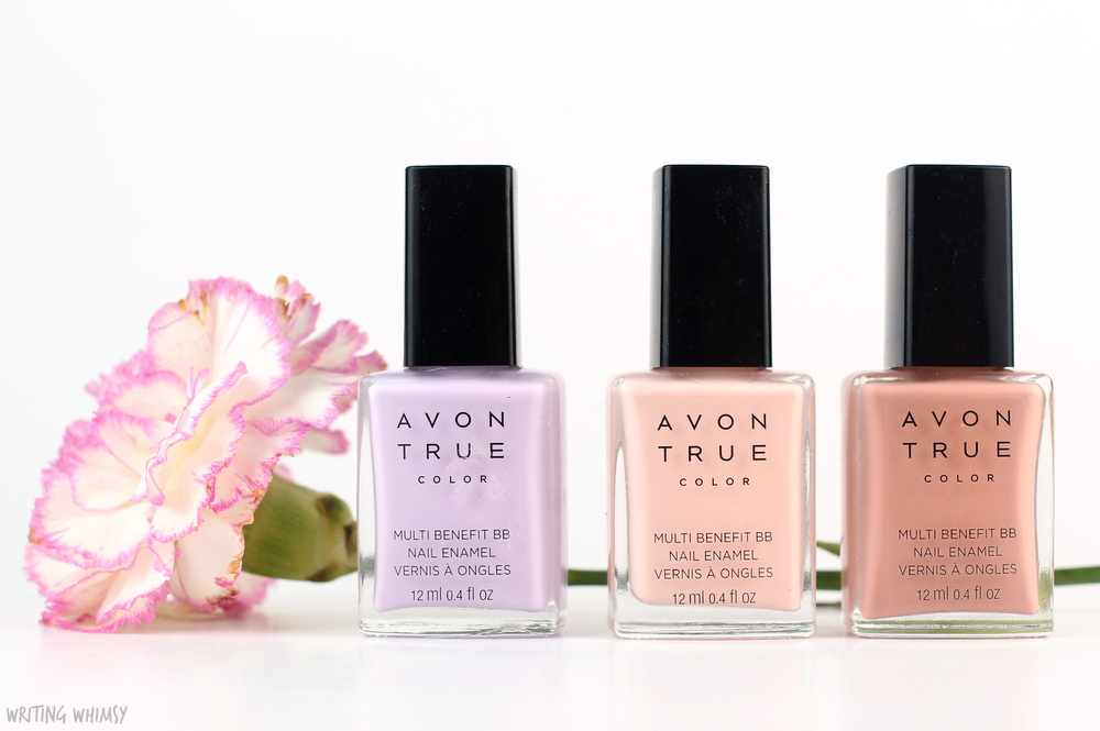 Avon True Color Polishes in Lilac Love, Perfect Pink & Restoring Beige Swatches
