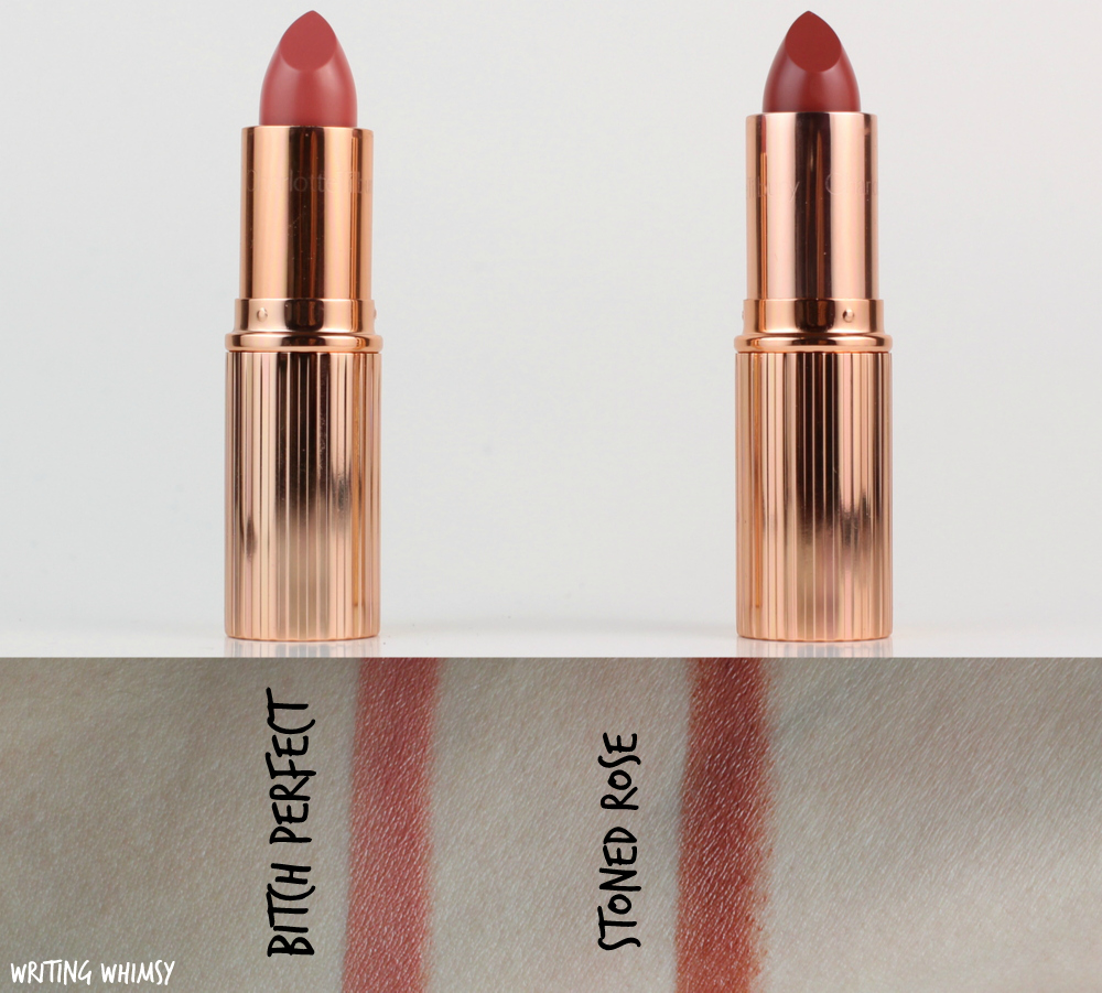 Charlotte Tilbury K.I.S.S.I.N.G Lipstick in Bitch Perfect & Stoned Rose Review + Swatches