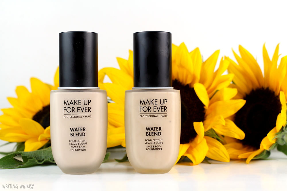 make-up-for-ever-water-blend-foundation-in-y215-and-y225-swatches-review