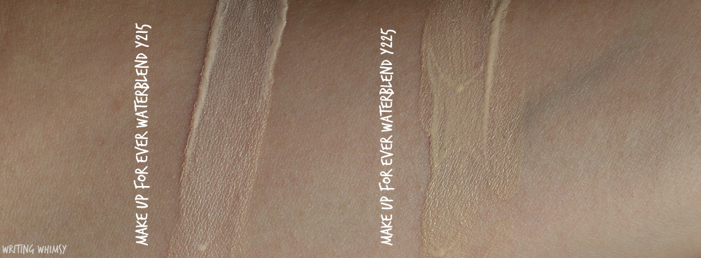 make-up-for-ever-water-blend-foundation-in-y225-swatches-review
