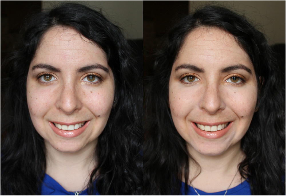 Before and After wearing the Too Faced Born This Way Concealer in Light