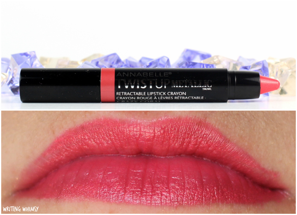 2-Annabelle TwistUp Metallic Retractable Lipstick Crayon in Coral Crazy